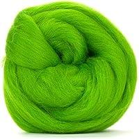 Fibras de lana merino, 50 g, color verde