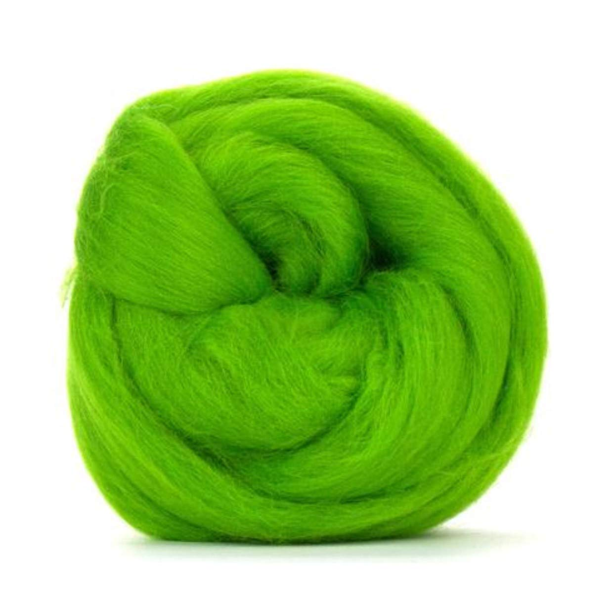 Vivid Green Merino Wool roving/Tops - 50gm. Great for Wet Felting/Needle Felting, and Hand Spinning Projects.