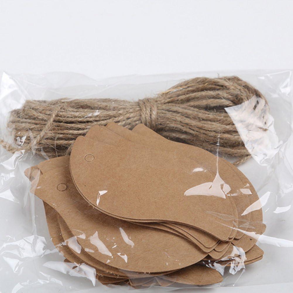 2m JUNGEN 100 St/ück Blattform Kraftpapier Papieranh/änger Anh/ängeetiketten Geschenkanh/änger kraftpapier Etiketten Tags 5 3cm mit 2 mm Hanfseil
