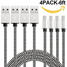 Micro USB cable,ALLFU 4Pack 6FT Extra Long Nylon Braided High Speed Android Micro USB Charging Cables, Fast Charger Cord for Samsung Galaxy S7 Edge/S6/S5/S4/,Note 5/4/3,HTC,LG,Nexus - Black/Silver