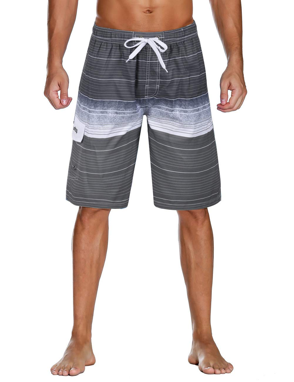 17b398c4e6726 Unitop Men's Colortful Striped Swim Trunks Beach Board Shorts with Lining  product image
