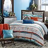 3pc Orange Blue Paint Stroke Duvet Cover King Set, Cotton, Artistic Bedding White Siesta Southwest Tribal Stripes Art Themed Watercolor Design Abtract Teal