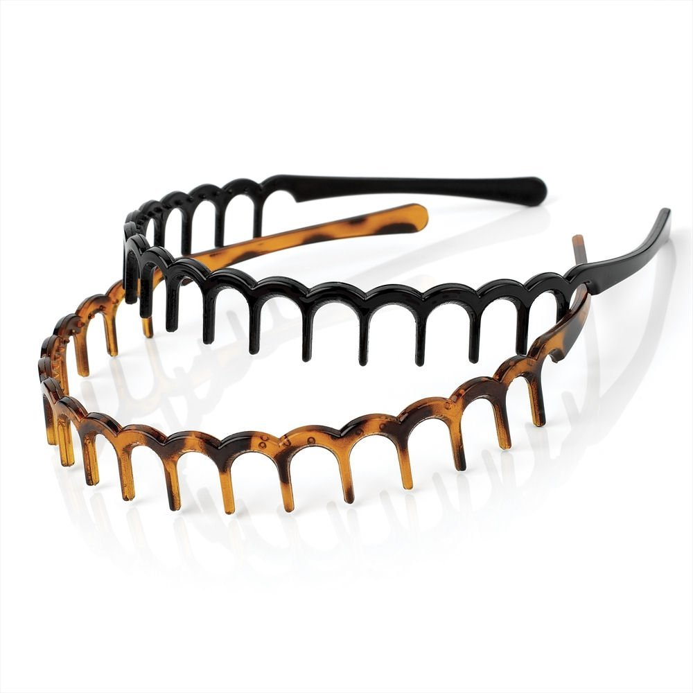 A Twin Pack Of Brown Zig Zag Shark Tooth Head//Hair Band