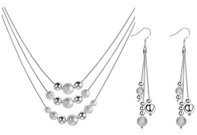 50a1251d03fd2 Vonchic Parure Boucles d'oreilles et collier perles givrées Plaqué argent  sterling – Poli