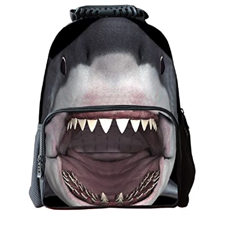 3623c623d53e Amazon.com  3D Shark Print Children School Backpack Kids Printed Felt  Fabric Bookbags Animal Rucksacks  Toys   Games