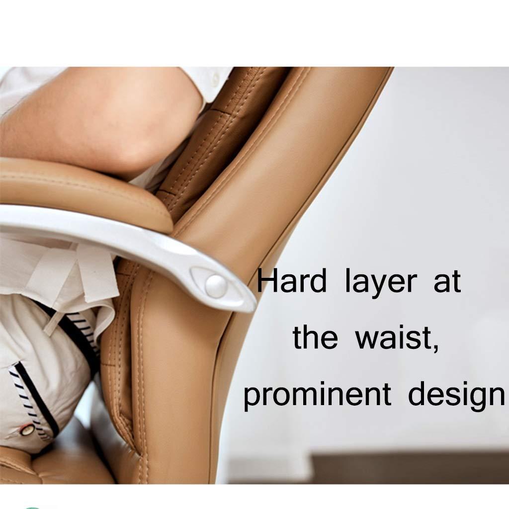 ZZHZY BBGS högrygg verkställande kontorsstol, faux läder stor säte dator skrivbordsstol, ergonomisk design, justerbar sitthöjd, 360 graders vridbar, svart, brun (färg: Brun) Brun