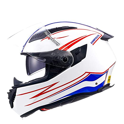 ATEMXI Casco de Motocicleta Motocicleta Doble Lente Casco UV ...