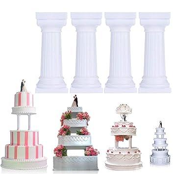 Hunpta - Molde para tartas (4 unidades), diseño de columna romana blanco: Amazon.es: Hogar