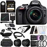 Nikon D3300 DSLR Camera with 18-55mm Lens (Black) + Sony 32GB UHS-I SDHC Memory Card (Class 10) + Remote + Flash + Cleaning Cloth Bundle