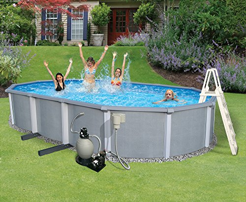 Blue Wave Zanzibar 15-Feet by 30-Feet Oval 54-Inch Deep 8-Inch Top Rail Metal Wall Swimming Pool Package by Blue Wave