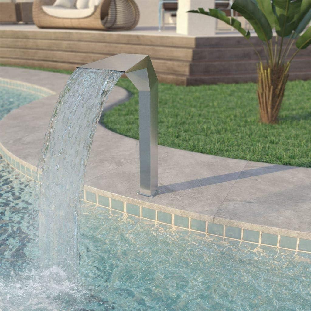 Vidaxl Stainless Steel Pool Fountain Pool Fountain Pool Fountains For In Ground Pools Garden Outdoor Waterfalls Sheer Descent Pond Water Feature 19 7 X11 8 X35 4 Silver Garden Outdoor