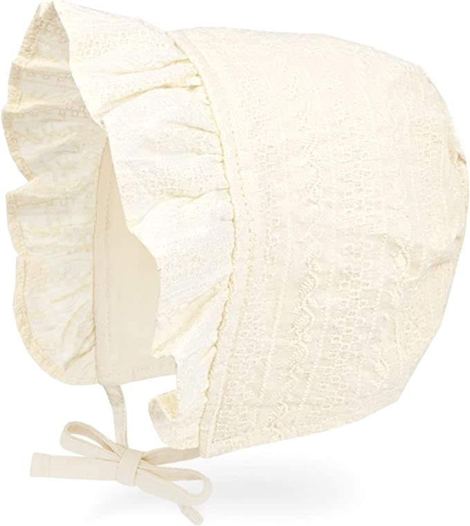 Glamour Girlz Vintage Look Baby Girls Embroidered Lace Baby Bonnet Beanie Sun Hat Cream 3-12 Months