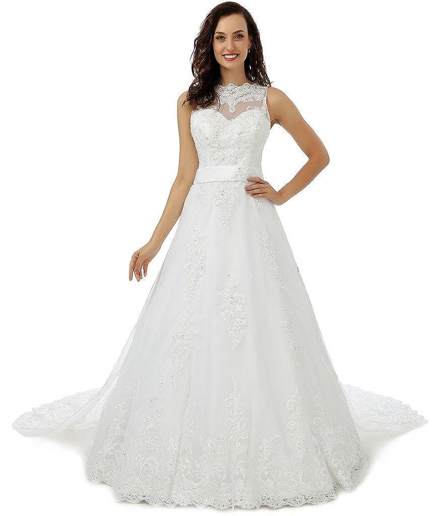 Ivory YSFS Women's Jewel Court Train Lace Beaded Aline Bridal Wedding Dress Gown