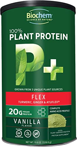 Biochem 100 Plant Protein – Flex – Vanilla – 11.6 oz – 20g Vegan Protein – Keto-Friendly – Amino Acid – Turmeric, Ginger Ayuflex – Joint Bone Health – Soft Tissue Support