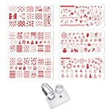 CICI&SISI Merry Christmas Nail Art Stamping Plates Kit Holiday Stamp Plate Manicure Template 6 Pieces with Clear Stamper Set