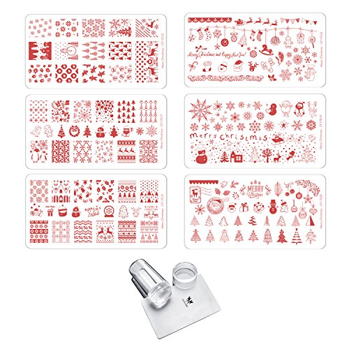 CICI&SISI Merry Christmas Nail Art Stamping Plates Kit Holiday Stamp Plate Manicure Template 6 Pieces with Clear Stamper (Cici And Sisi Halloween)