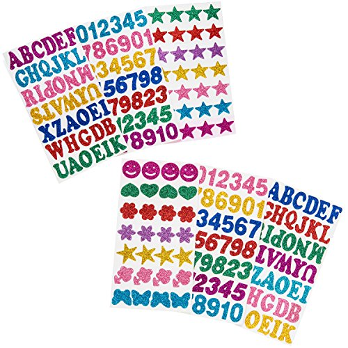 6 Sheets Glitter Foam Stickers - Self Adhesive Letters, Numbers, Stars and Shapes for Kids Crafts and Scrapbooking -