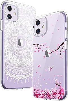 Yoowei [2-Pack] Funda para iPhone 11, Transparente con Dibujos Ultra Fino Suave TPU Silicona Protector Carcasa para iPhone 11 (Flores de Cerezo, Mandala Blanca): Amazon.es: Electrónica