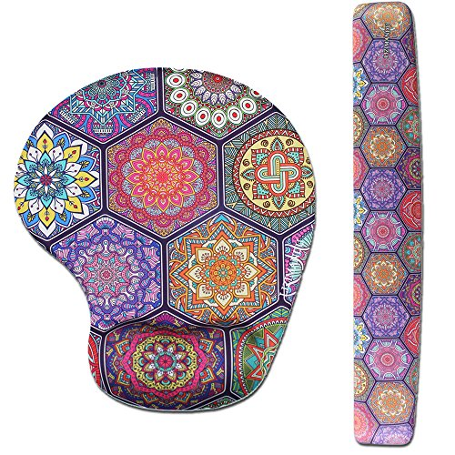 Lizimandu Memory Foam Non Slip Mouse Pad Wrist Rest for Office, Computer, Laptop & Mac - Durable & Comfortable & Lightweight for Easy Typing & Pain Relief-Ergonomic Support (Hexagon Bohemia)