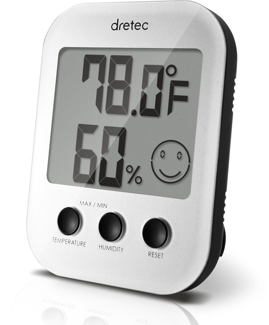 DRETEC Thermometer, Hygrometer, Indoor therometer, Humidity Meter, Silver, Officially Tested in Japan, (Starter AAA Battery Included)