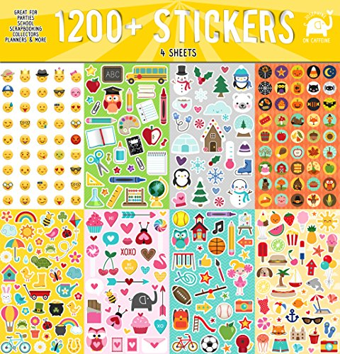 Josephine on Caffeine Year Round Sticker Assortment Set (1200+ Count) Collection for Children, Teacher, Parent, Grandparent, Kids, Craft, School, Planners & Scrapbooking]()