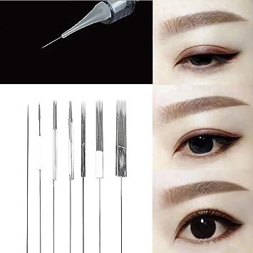 50 piezas Aguja Microblading, ceja permanente Delineador de ojos ...