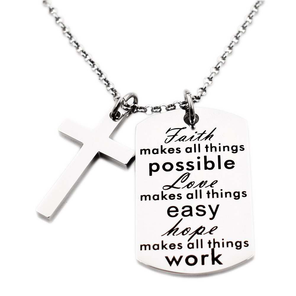 N.egret Necklace Chain Cross Pendant Inspirational Jewelry Quotes Gift for Girl Teen Daughter men Birthday NL-cross-04