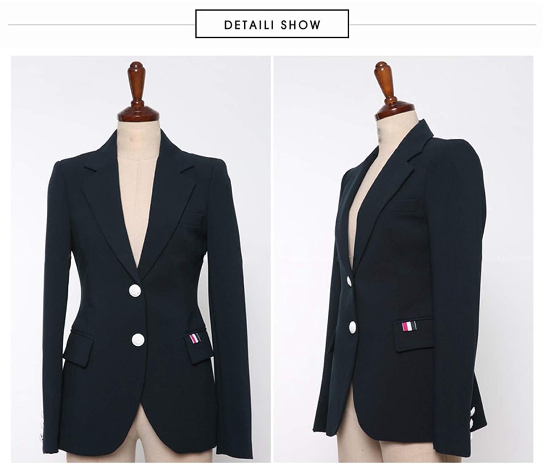 Work Full Length Pants Business 2 Piece Set OL Suit Pants Set 2019 Autumn Women Navy Blue Single-Breasted Blazers Coat