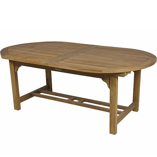 Mesa Oval extensible TECA. Ancho especial 120cm.: Amazon.es: Jardín
