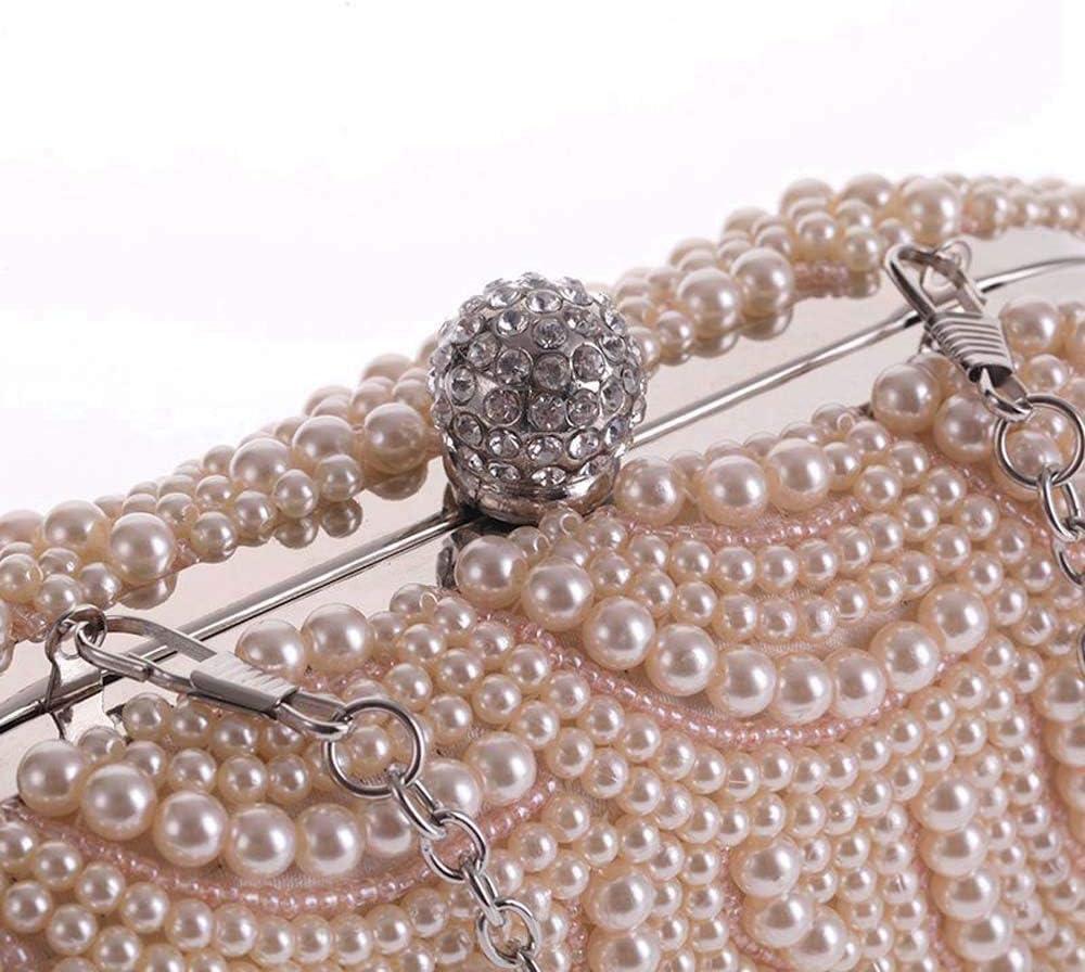 JIA JIA Mini Cool Cool Sac Femme Sac Exquis Soirée Sac Sac De Perles Chaîne Ovale en Bandoulière Pochette Mode Classique Sac De Mode Sauvage Brillant (Couleur : Black) Silver
