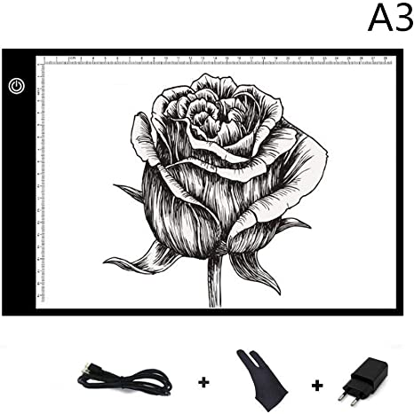 Plaque Avec Luminosit/é R/églable Gant Dessin Tablette Lumineuse USB Rechargeable Avec A3 Ultramince Portable Lumineuse Dessin LED