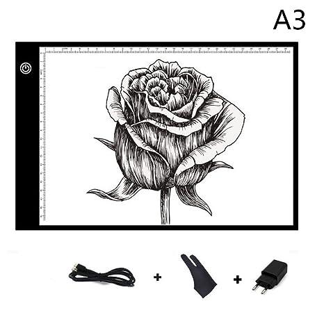 Aidudo Mesa de Luz Dibujo A3, Tableros de Dibujo LED, 5mm Super Delgado y Brillo Ajustable en 3 Niveles, Carga USB Tableta de Dibujo +Guantes de ...
