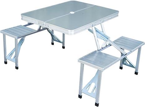 Outsunny Tavolo Da Campeggio Richiudibile Con 4 Sedie Tavolino Da Picnic Alluminio Argento Amazon It Giardino E Giardinaggio