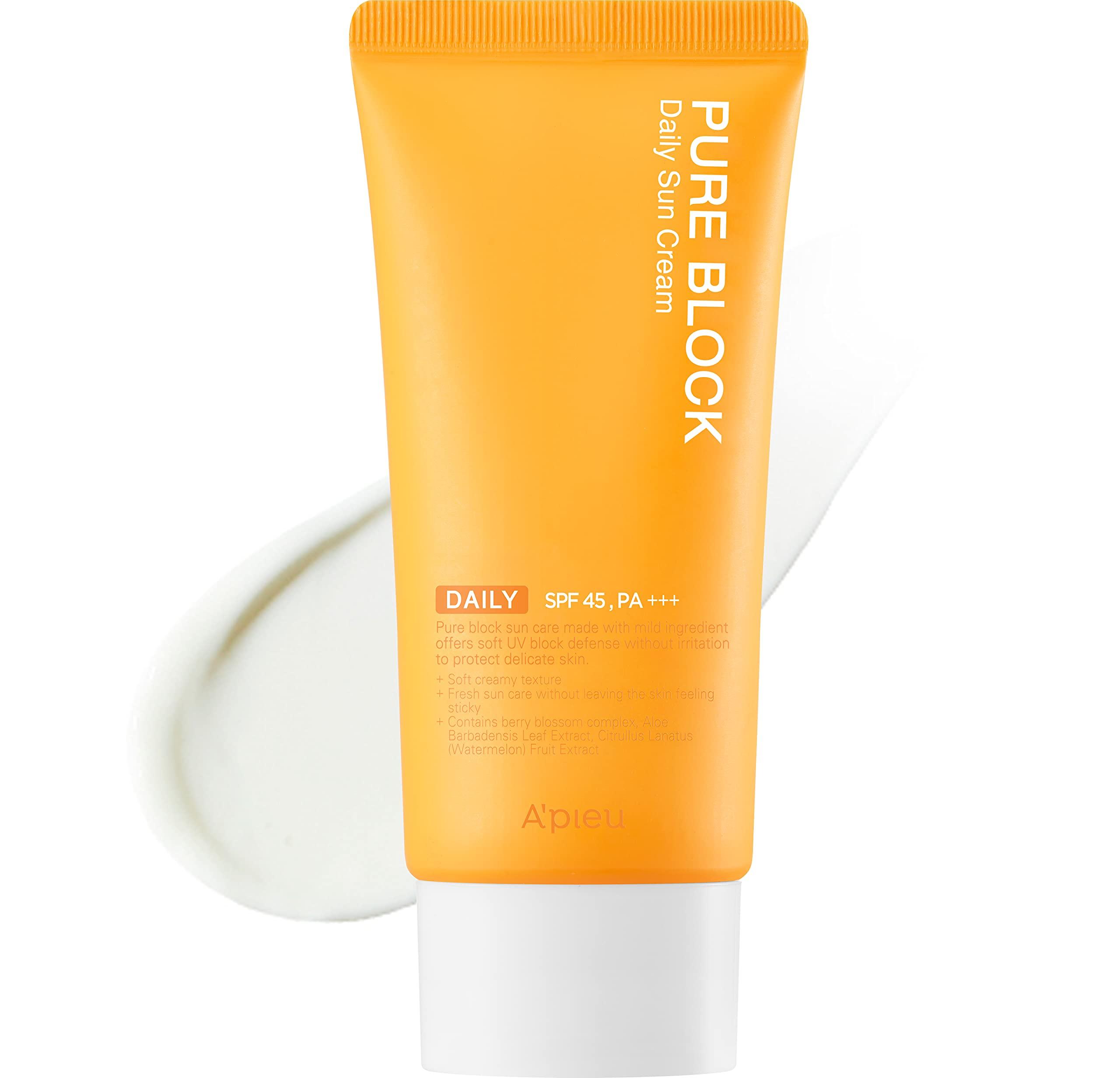 A'PIEU Pure Block Daily Sun Cream SPF45/PA+++ 50ml | Non-Greasy No White Cast Korean Sunscreen for Face