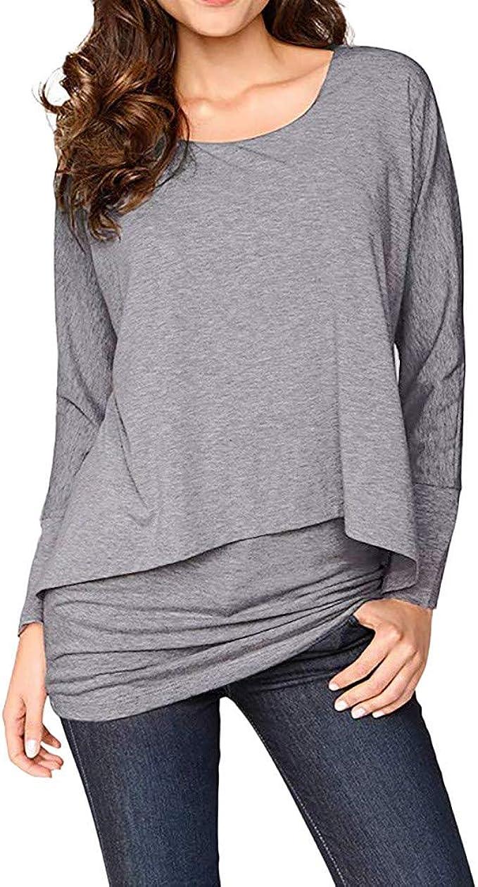 Damen Casual Hem Top Longshirt Longtop Freizeit Blusen Locker Oberteil T-shirt