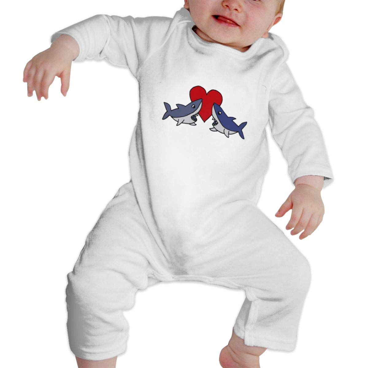 Infant Baby Girls Cotton Long Sleeve Funny Cute Shark Climb Romper One-Piece Romper Clothes