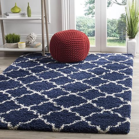 Safavieh SGH282C-3 Hudson Shag Collection Moroccan Geometric Quatrefoil Area Rug, 3' x 5', (Shag Rug Navy Blue)
