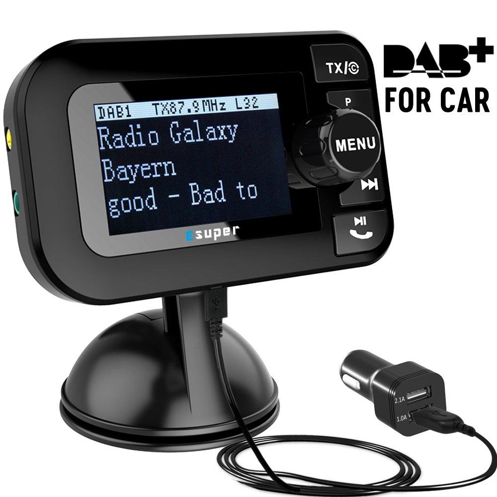 Dual-Use DAB/DAB+ Radio Empfä nger mit Verbesserter Omni-Direktional drinnen&drauß en SMA DAB Antenne fü r Autoradio/Heim Stereo Anlage, Esuper Mini Tragbarer Digital Radio Adapter&FM Transmitter/Aux-Out Car DAB
