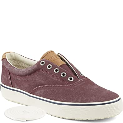 Mens Sperry  Striper laced canvas casual shoes BURGUNDY 95 M  OJ7V9VM8T