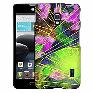 LG Optimus F6 Case, Slim Fit Snap On Cover by Trek Watercolor Neon Abstract Flowers Case