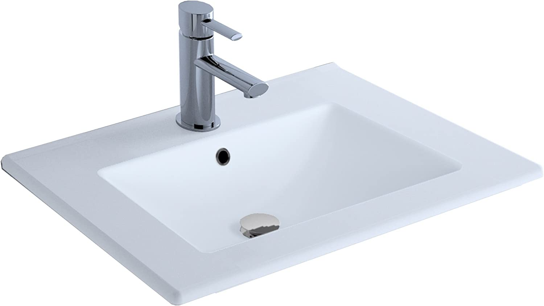 extra plat Cygnus Bath Lavabo en c/éramique de 80 cm