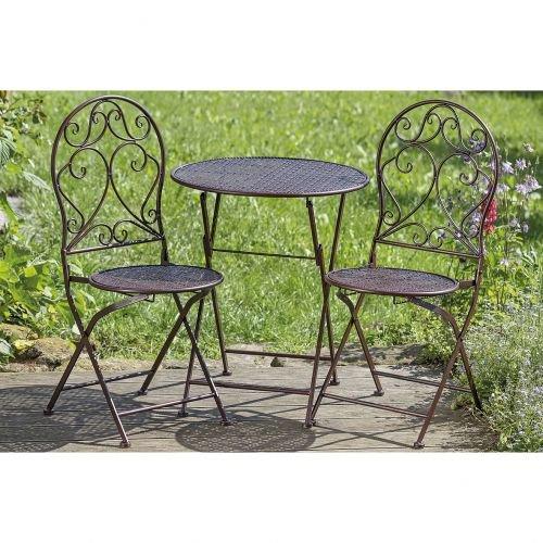 gartenm bel 3er set 1 tisch 2 st hle klappbar eisen sitzgarnitur jetzt kaufen. Black Bedroom Furniture Sets. Home Design Ideas