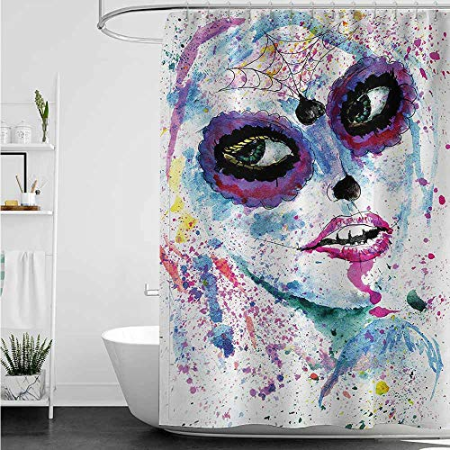 home1love Travel Shower Curtain,Girls Grunge Halloween Lady with Sugar Skull Make Up Creepy Dead Face Gothic Woman Artsy,Shower Curtains in Bath,W108x72L,Blue Purple -
