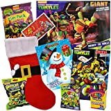 Teenage Mutant Ninja Turtles Christmas Stocking Stuffer Bundle - TMNT 9 Pack - Includes TMNT Coloring Books, Ninja Turtles Action Figures, Holiday Items in for Children Ages 5-10