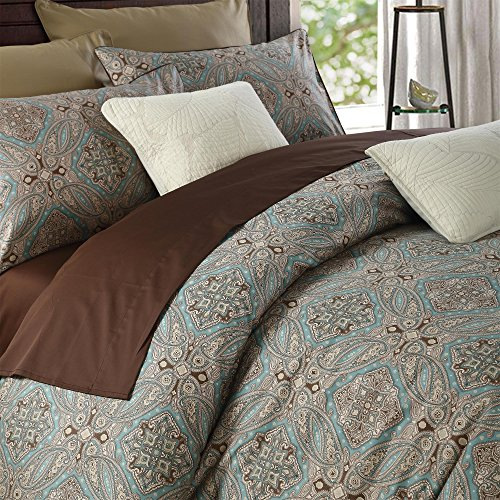 (Brandream Duvet Cover King Size Paisley Bedding Chic Regal Themed Boho Luxury Bedding Set, Taupe)