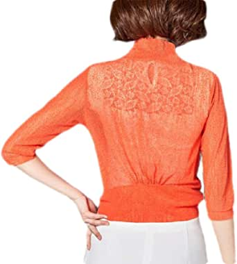 Women Tie Front 3/4 Sleeve Shrug Sheer Bolero Top Thin Cardigan