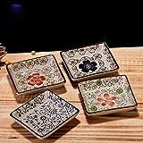 XDOBO Japanese Classical Ceramic Square Shaped, Sakura Painted Sauce Dish, Set of 4