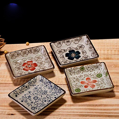 XDOBO Japanese Classical Ceramic Square Shaped, Sakura Painted Sauce Dish, Set of 4