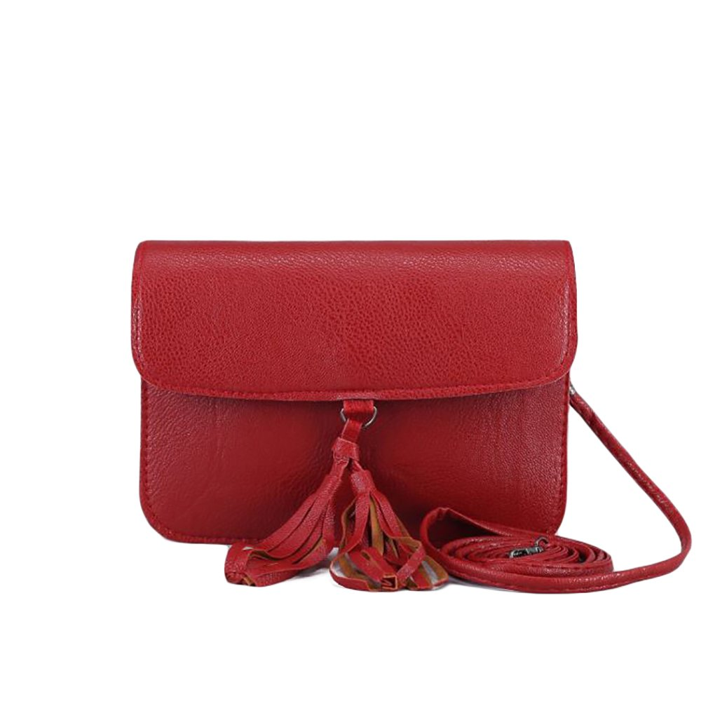 Fashion Small Ladies Clutch Vegan Leather Bag with Tassels Purse Handbag Adjustable Strap Boho Shoulder (Red-NEW)