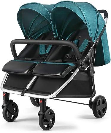 Opinión sobre baby stroller Cochecito Doble de Lado a Lado, Equipado con Cubierta para la Lluvia, el Aluminio de aviación es Ligero y fácil de Plegar, Cochecito con Respaldo Ajustable, Adecuado para 0-6 años